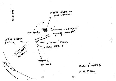 Hand-drawn map showing the position of Bosnian Serb soldiers and Bosniak victims near the Paklenik ravine.