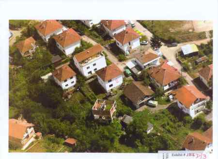 Ariel photograph of the house in Visegrad were about 70 Bosniak women and children were burnt alive.