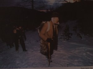 Bosniaks walking by night through Bosnian Serb Army territory towards Grebak to buy food and supplies.
