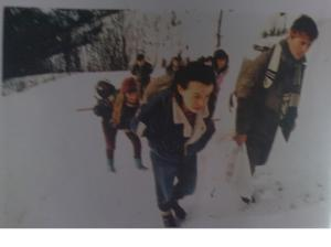 Bosniaks from Eastern Bosnia crossing mountains to Grebak to buy food and supplies.