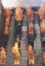 The National Library in Sarajevo, shelled and set on fire by Bosnian Serb Army, destroying over 2 million books. Luckily the Hagada was saved.